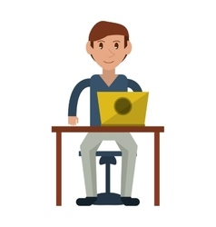 Young man using laptop on desk vector