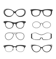glasses black silhouette set vector image vector image