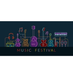 Music Instruments Objects Background Line Design vector image vector image