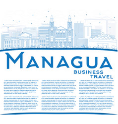 outline managua skyline with blue buildings and vector image