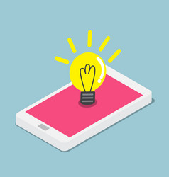 abstract light bulb on smartphone vector image