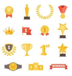 awards icons set flat design vector image vector image