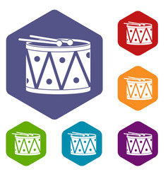 Drum and drumsticks icons set hexagon vector