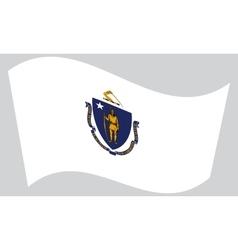 Flag of Massachusetts waving on gray background vector image vector image