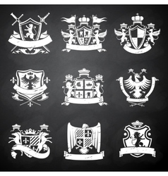Heraldic chalkboard emblems vector image