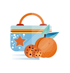 lunch bag with chocolate cookie and peach fruit vector image