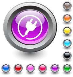Power plug round button vector