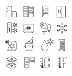 refrigerator home freezer and industrial fridge vector image
