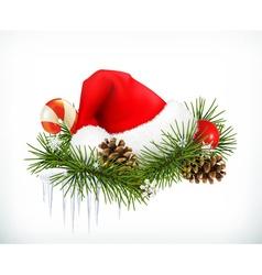 Santa Claus hat Christmas tree and cones vector image