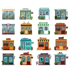 Stores and shops street view collection vector image