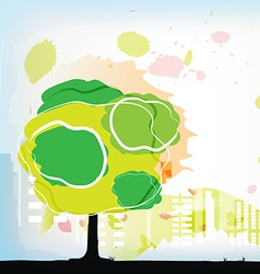 watercolor tree with city behind vector image vector image