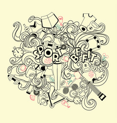 doodles hand-drawn-sketchy symbols and objects of vector image