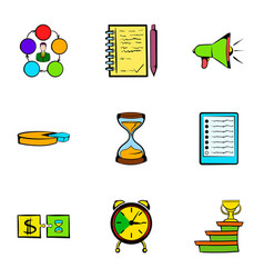 finance icons set cartoon style vector image vector image