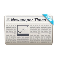 folded newspaper icon with type and picture vector image