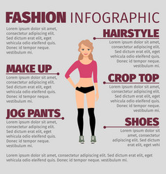 girl in fitness clothes fashion infographic vector image
