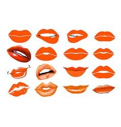 Orange lips collage lips Set of isolated women vector image vector image