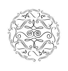 round vintage decorative scroll ornament element vector image