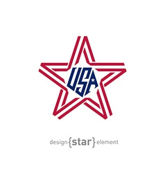 star with american flag colors design element vector image vector image
