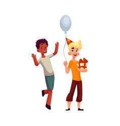 boys at birthday party black dancing caucasian vector image