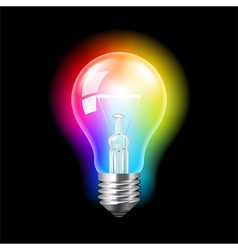 Bulb with colorful light background vector image