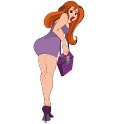 Cartoon girl in purple dress Back view vector image vector image