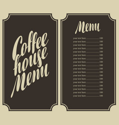 coffee house menu with cup and price vector image vector image