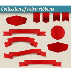 Collection of red retro ribbons and tags vector image vector image