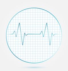 Heart beats cardiogram blue icon vector