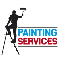 painting services design - man painting the wall vector image