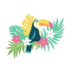 Tropical bird toucan and exotic plants and flowers vector image vector image