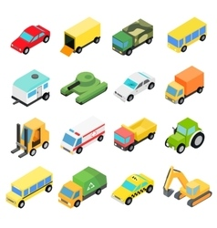 Types of automobiles isometric set vector image vector image