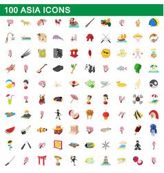 100 asia icons set cartoon style vector image vector image