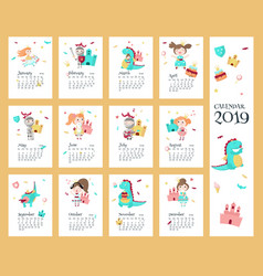 2019 calendar template with princess vector image
