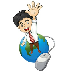 A happy businessman standing above the globe vector