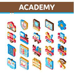 Academy educational isometric icons set vector