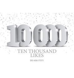 anniversary or event 10000 silver 3d numbers vector image