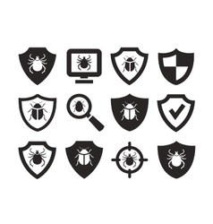 Antivirus protection web icons set vector