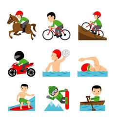 athlete sport man character cartoon vector image