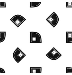 Baseball field pattern seamless black vector