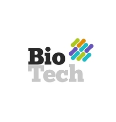Bio technology logotype with genetic microorganism vector image