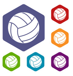 Black volleyball ball icons set hexagon vector