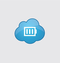Blue cloud full battery icon vector image