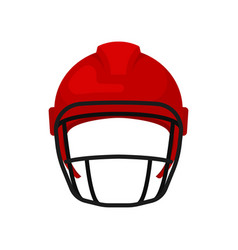 bright red helmet with black mask protective gear vector image