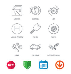 Car key repair tools and manual gearbox icons vector
