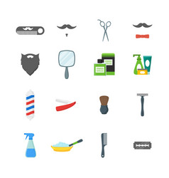 cartoon barbershop shop symbol color icons set vector image