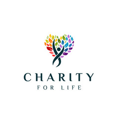charity tree logo vector image
