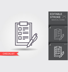 checklist with a pen line icon with editable vector image