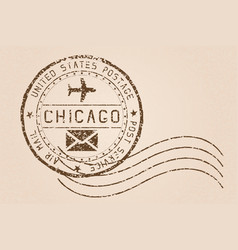 Chicago mail stamp old faded retro styled impress vector