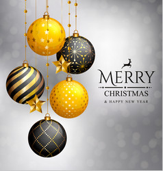 Christmas card xmas golden balls and stars vector