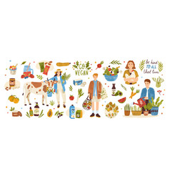collection organic eco vegan products - natural vector image